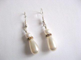 Cercei mireasa din perle Swarovski si Mallorca 25464