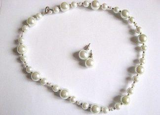 Set mireasa colier si cercei perle sticla 25951