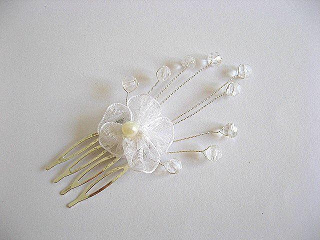 Ac coc par mireasa, accesoriu nunta cristale si sarma argintat 20367