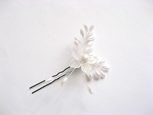 Ac mireasa floare si frunze, accesorii nunta, perle artificiale 27014