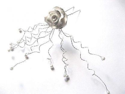 Ac par mireasa, produs nunta, perle sticla, trandafir fimo foita argint 13887