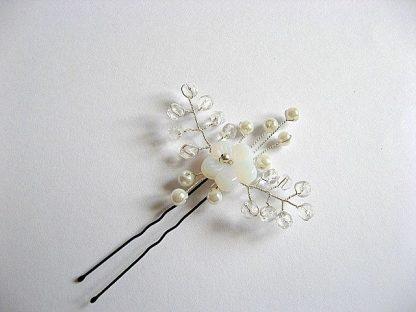Accesoriu decorativ mireasa ac par pentru nunta din perle, cristale 20316