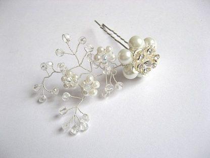 Accesoriu mireasa ac par nunta, perle sticla, cristale si sarma 20297 alt unghi