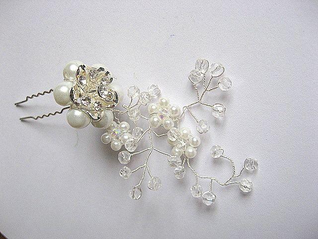 Accesoriu mireasa ac par nunta, perle sticla, cristale si sarma 20297