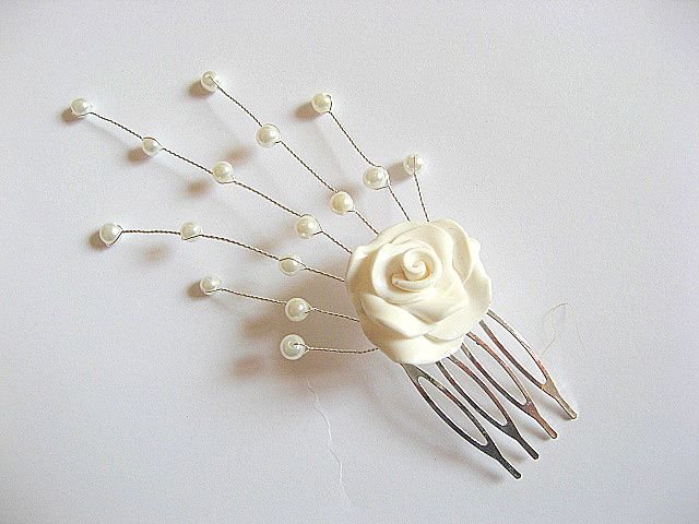 Accesoriu nunta, floare fimo si perle sticla accesoriu mireasa 20137