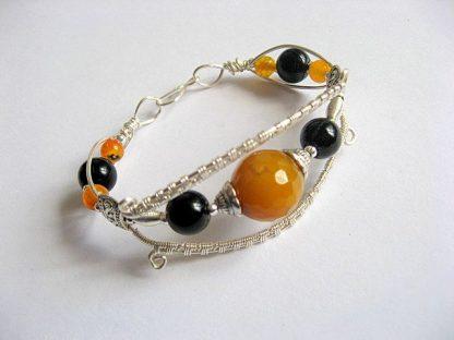 Agate galbene si onix negre pietre semipretioase, bijuterie handmade 21720