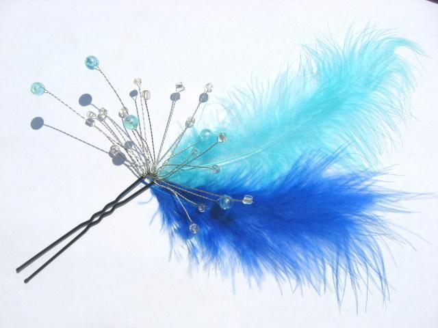 Agrafa nunta, accesoriu mireasa puf albastru deschis si albastru inchis 0259