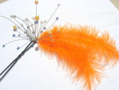 Agrafa portocalie mireasa, accesoriu nunta din puf 0248