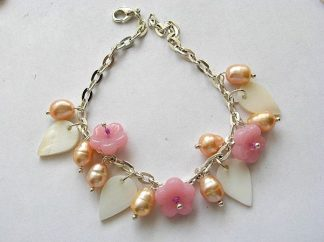 Bijuterie culori alb, galben si roz bratara perle, sidef si sticla 18257