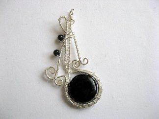 Bijuterie pandantiv onix negru, bijuterie piatra semipretioasa 25733