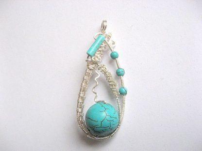 Bijuterie turcoaz, pandantiv handmade piatra semipretioasa 25869