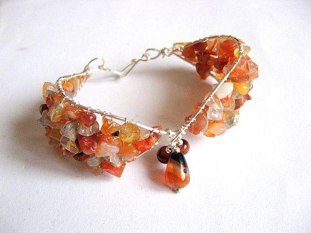 Bratara pietre semipretioase agate culori portocaliu, galben, maro, negru 25949