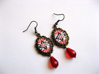 Cercei rosu si negru motive traditionale romanesti 28159.