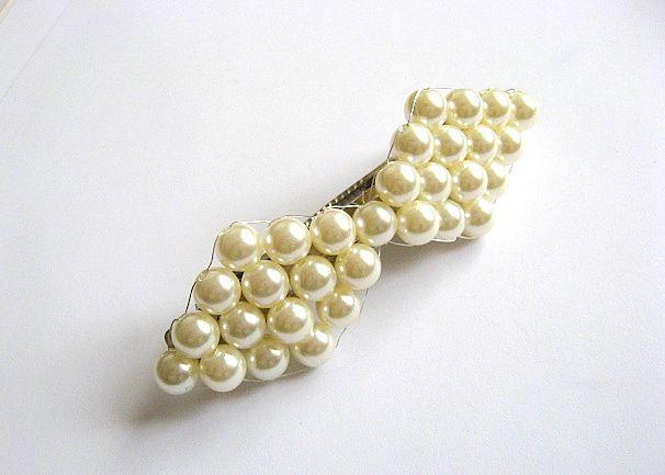 Clema mireasa nunta, perle sticla si sarma placata cu argint 27528