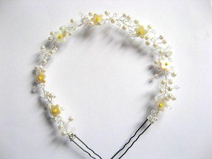 Coronita mireasa nunta flori sidef galbene, perle sticla si cristale 27292