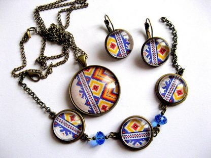 Culori albastru, galben si rosu motiv traditional autentic romanesc 28229.