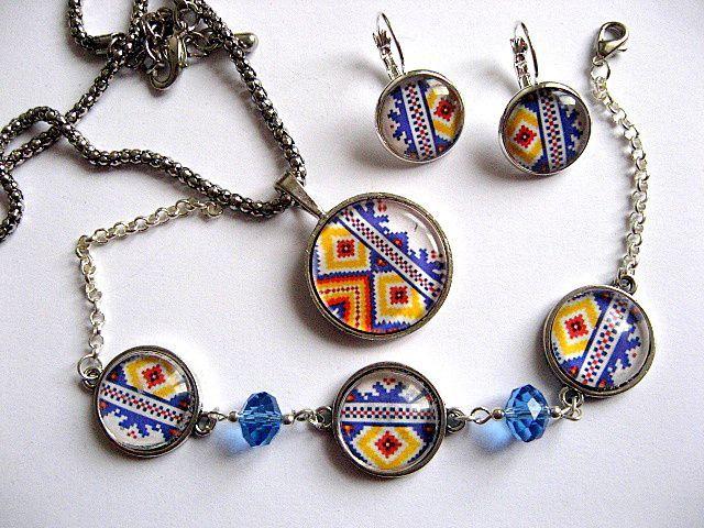 Culori tricolor set bijuterii motive traditionale romanesti 28228
