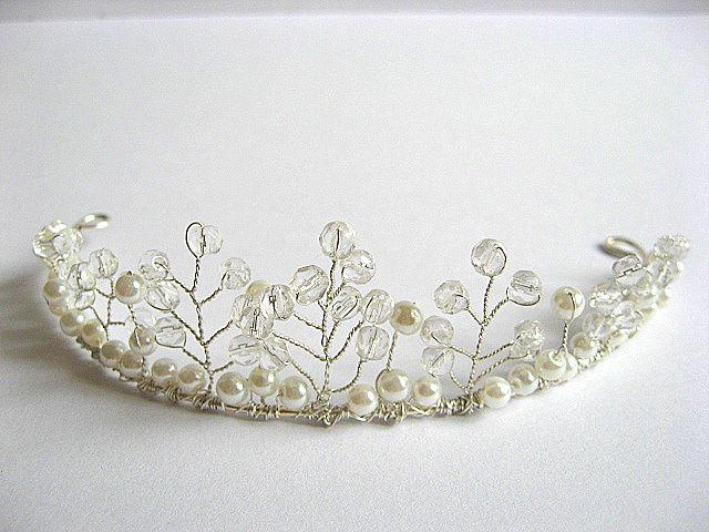 Diadema mireasa, produs nunta cristale si perle sticla 20320