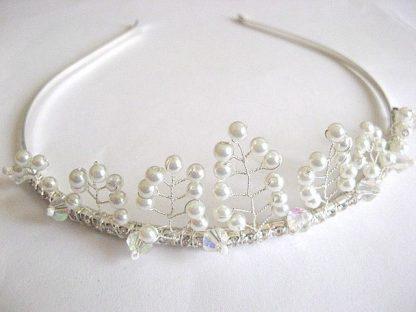 Diadema nunta, accesoriu mireasa perle sticla si cristale 25496