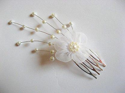 Floare organza si perle sticla, pieptene, accesoriu mireasa 20138