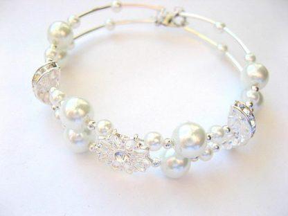 Bratara pentru mireasa cu perle sticla si cristale 11219