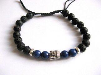 Lapis lazuli si roca vulcanica bratara barbati femei, bratara unisex 27679