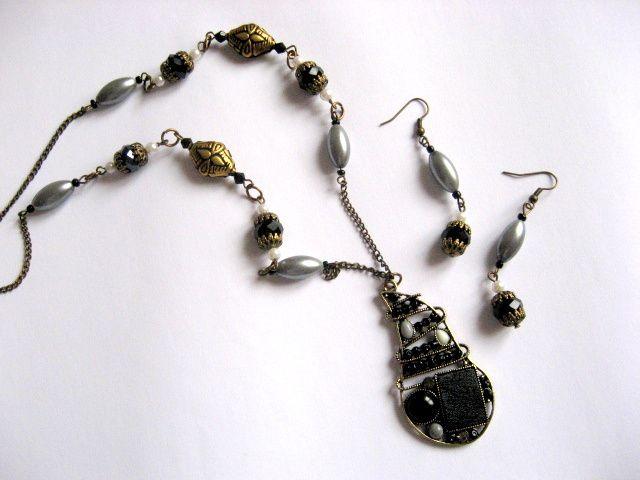 Margele sticla bijuterii set colier si cercei 17571