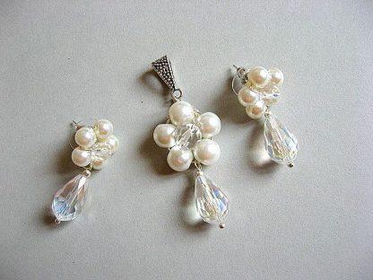 Pandant si cercei set bijuterii perle de sticla si cristale 20379