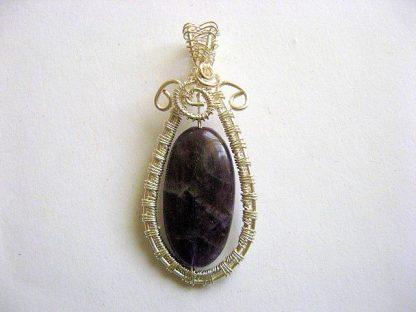 Pandantiv ametist mov negru, piatra semipretioasa si sarma argintata 25734