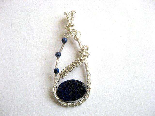 Pandantiv lapis lazuli albastru negru, piatra semipretioasa 25733