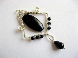Pandantiv onix negru, bijuterie piatra semipretioasa 22075