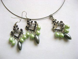 Perle sticla verzi si gri bijuterii set colier si cercei 26014