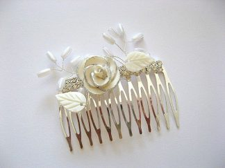 Pieptan mireasa, accesoriu nunta floare fimo si frunzulite sidef 20088