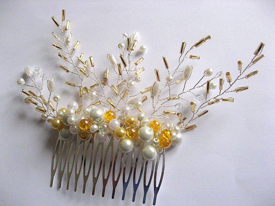 Pieptene mireasa cu perle si cristale 28288