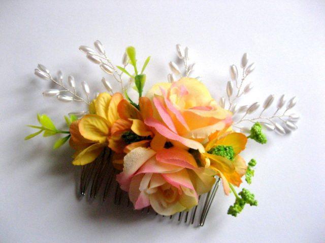 Pieptene mireasa flori artificiale si perle 28252