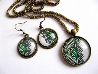 Set bijuterii culoare verde motive traditionale pandantiv si cercei 28231