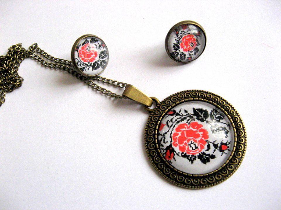 Set bijuterii femei motive populare romanesti flori 28205