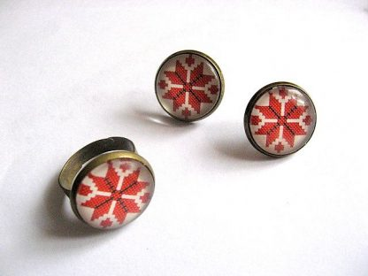 Set cercei sticla si inel, accesorii bronz motive traditionale 27579