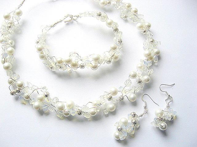 Set mireasa cristale din stanca Opalit si perle 7288