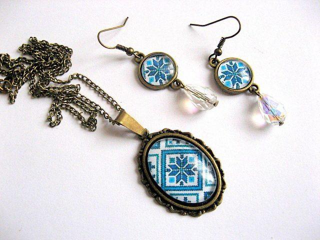 Set de bijuterii cu motive traditionale romanesti 28201