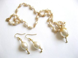 Set mireasa colier si cercei din perle 26812