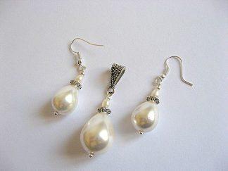 Set mireasa pandant si cercei din perle naturale 19673 poza 2