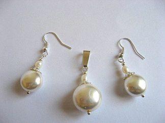 Set mireasa pandant si cercei perle 19472