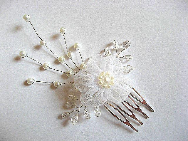 Pieptan mireasa cu floare organza 20143