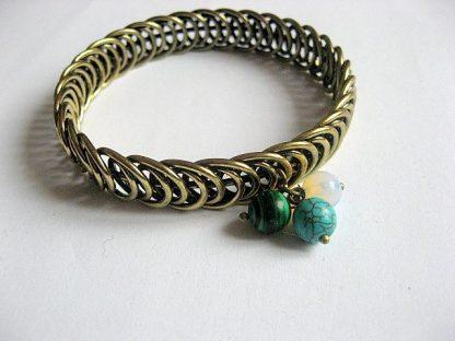 Bratara bronz metal si pietre malachit, opal si turcoaz, bratara femei 24972