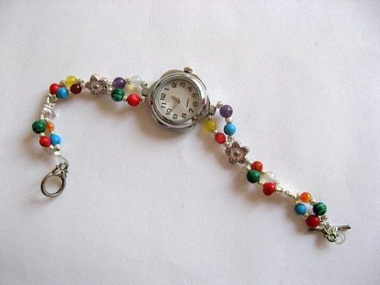 Bratara ceas cu cuart, agate, coral, turcoaz, malachit, jad, ametist, opal 16866