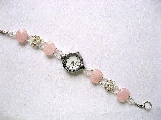 Bratara ceas cu cuart roz si cristale, bijuterie bratara femei 18278