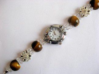 Bratara cu ceas de cuart, ochi de tigru, cristale si argint tibetan 16303