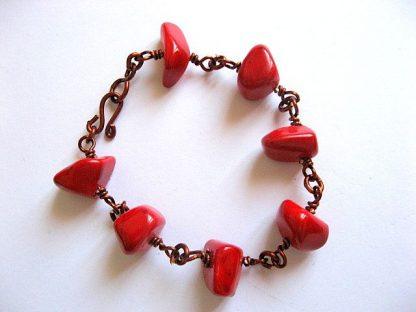Bratara culoare rosie femei, bratara coral si sarma cupru emailat 19800.