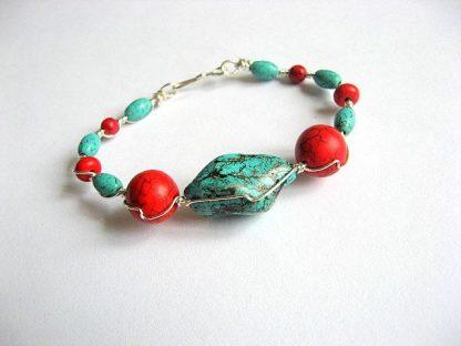 Bratara pietre turcoaz bleu si howlite rosu, bratara femei handmade 21873